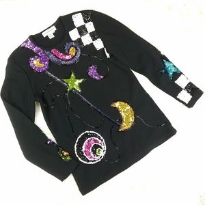 Vintage 90's Magic Witchy Sequin Outlander Sweater